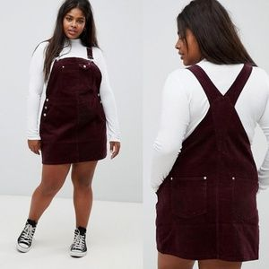 new ASOS CURVE Oxblood Corduroy Overall Dress 90s